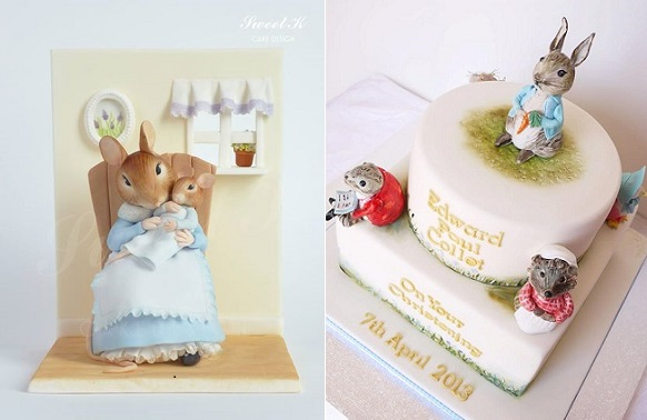 Beatrix Potter cakes by Sweet K Cake Design left and Scrummy Mummy's Cakes right