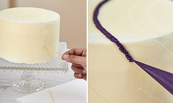 Buttercream Crochet Cake steps a and b