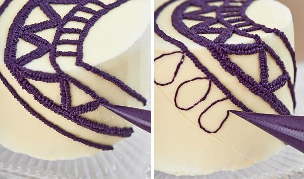 Buttercream Crochet Cake steps d and e