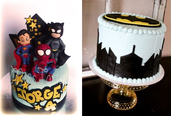 Superhero cake by Miss Tartas left and Batman cake by JennyCookies. com right