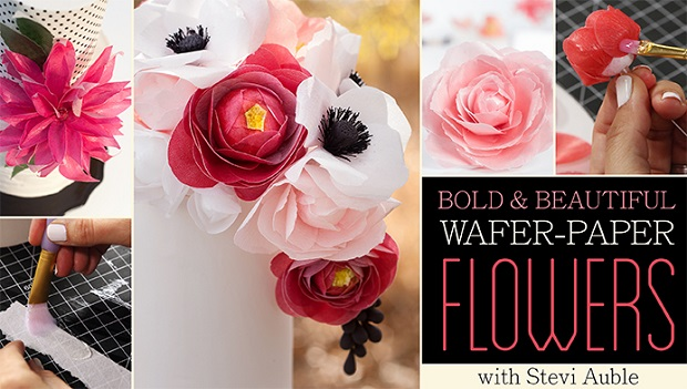 Wafer Paper Flowers tutorials by Stevi Auble of Hey There Cupcake including wafer paper dahlia tutorial on Craftsy