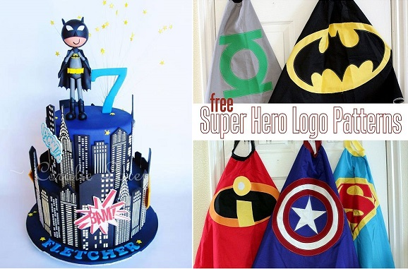 batman cake by Gateaux Inc left and free super hero logo patterns from vanillajoy. com