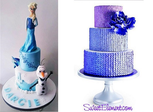 edible sequins Frozen cake by Time for Tiffin UK left and purple sequins wedding cake by Sweet Element right