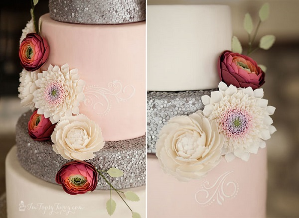 edible sequins tutorial and wedding cake by I'm Topsy Turvy, Chelsea Peterson Photography