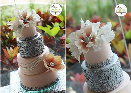 edible sequins wedding cake by Sugar Couture Cupcakes and Cakes