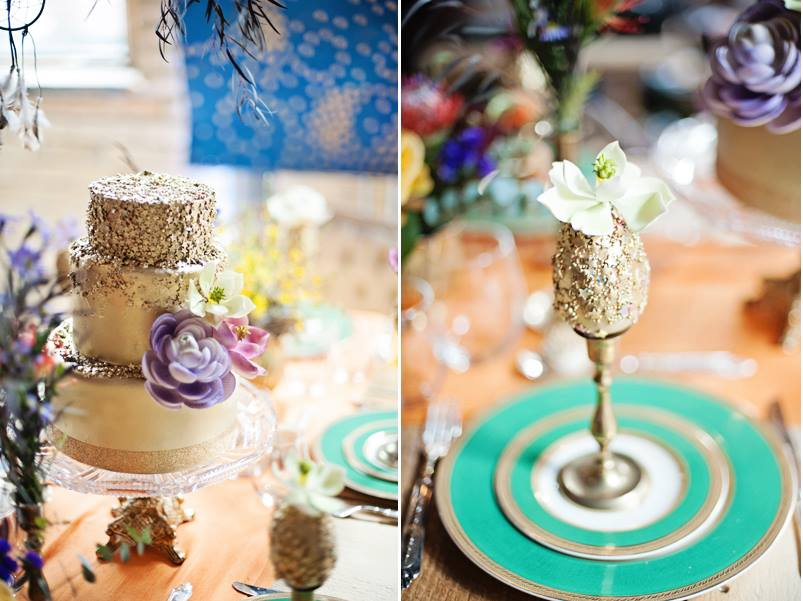gilded cakes and edible sequins by The Caketress