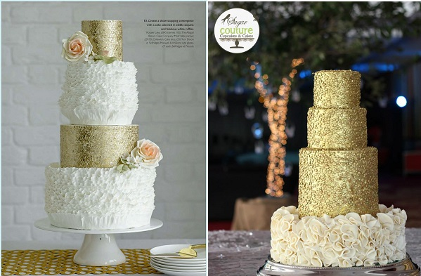 gold sequins wedding cake by Abigail Bloom Cake Design left and by Sugar Couture Cupcakes and Cakes right
