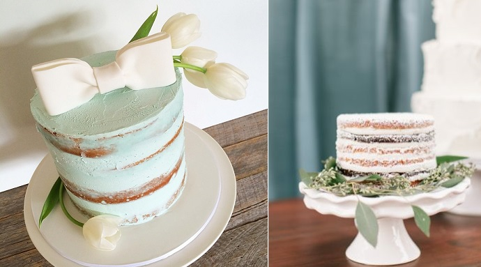 half dressed cakes by All Things Sweet, NSW left and Cake Delights, Jen and Ashley Photography via Burnett's Boards right