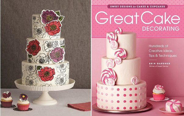 hand-stamped cake with floral appliques from Great Cake Decorating by Erin Gardener, Taunton Press