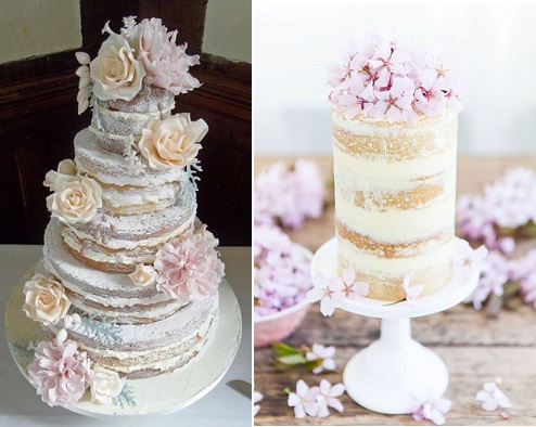 naked cake by Dulcie Blue Bakery left and cherry blossom and lemon curd crumb-coated cake by Made By Mary right