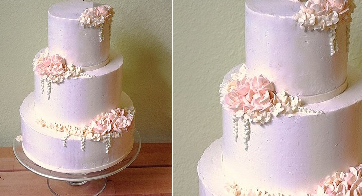 piped buttercream flowers and trailing tendrils wedding cake by Haute Sweets