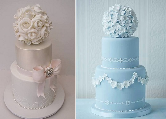pomander wedding cakes by Cakesalouisa left and via Zucchero E Cannella on Pinterest right