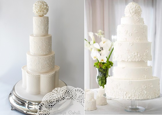 pomander wedding cakes by Faye Cahill Cake Design left and Delectable Cakes by Su right