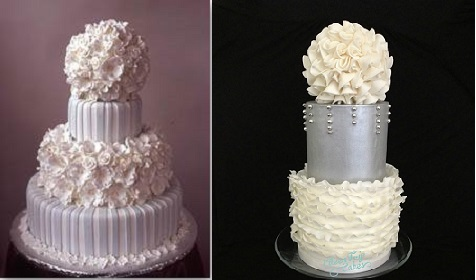 pomander wedding cakes by Gail Watson Cakes left and by Eileen Fry Cakes right
