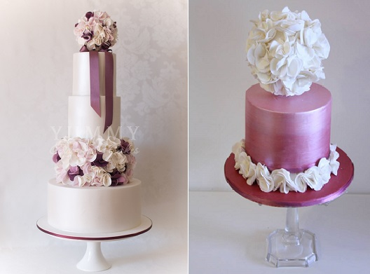 pomander wedding cakes by Yummy Cupcakes & Cakes left and Cake Face right