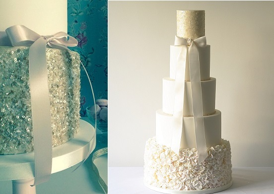 silver sequins vintage wedding cake by Cotton and Crumbs left and sequins wedding cake by Abigail Bloom right