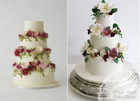 trailing flowers wedding cakes by Lulu Cake Boutique left and Faye Cahill Cake Design right