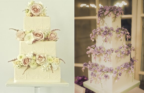trailing flowers wedding cakes by Makiko Searle left and Peggy Porschen right via So Your Getting Married