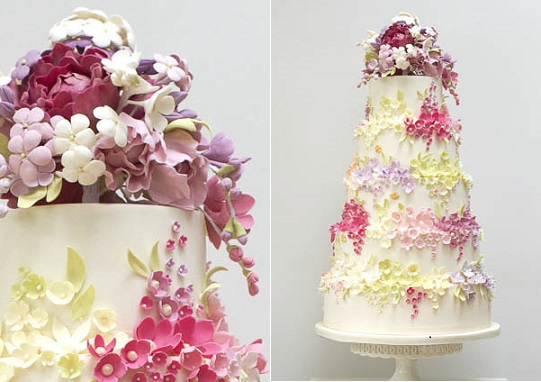 trailing sugar flowers cake by Rosalind Miller