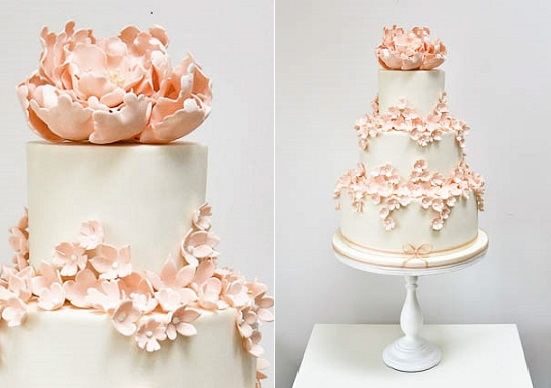 trailing sugar flowers peach peony cake by Rosalind Miller