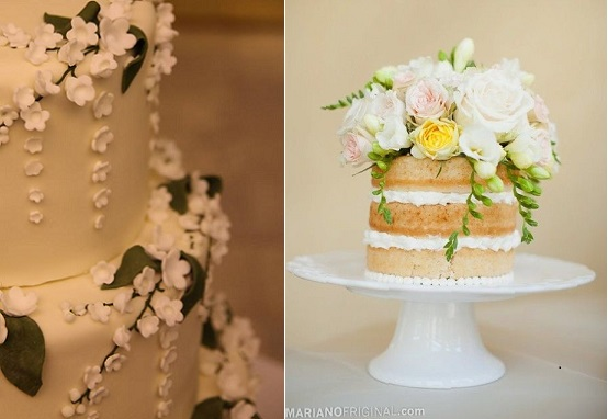 trailing sugar flowers wedding cake by Abigail Bloom left and fresh freesia right, image  marianofriginal .com