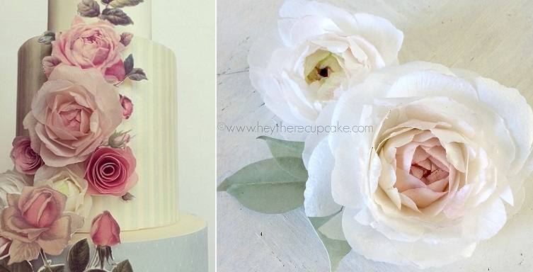 wafer paper flowers and painted appliques by Hey There Cupcake plus wafer paper peonies right