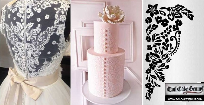 wedding dress inspired cake with lace stencilling by Gateaux Inc
