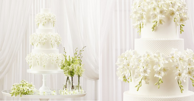 white dendrobium orchids wedding cake by Peggy Porschen
