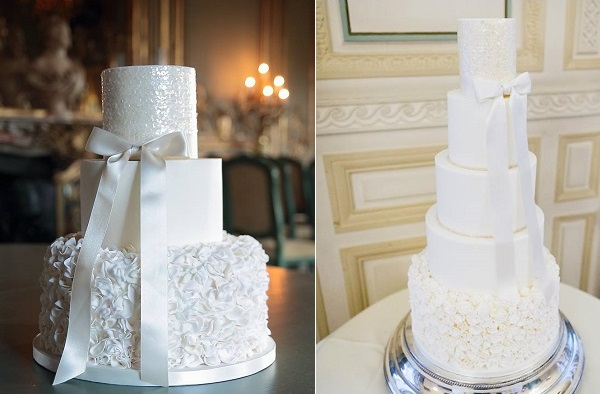 white sequins wedding cakes by Abigail Bloom Cake Design