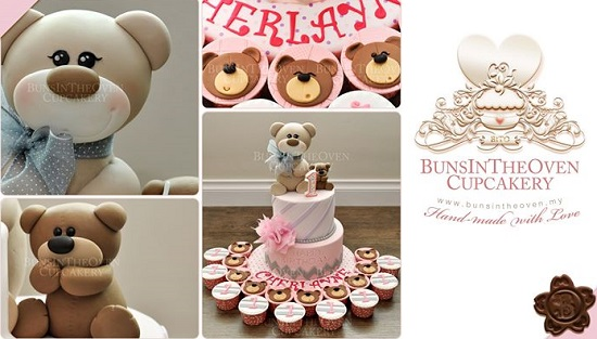 1st birthday cake with teddy bear by Buns in The Oven Cupcakery