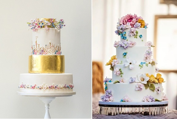 A Midsummer Night's Dream Wedding Cake by Rosalind Miller left and Ana Parzych right