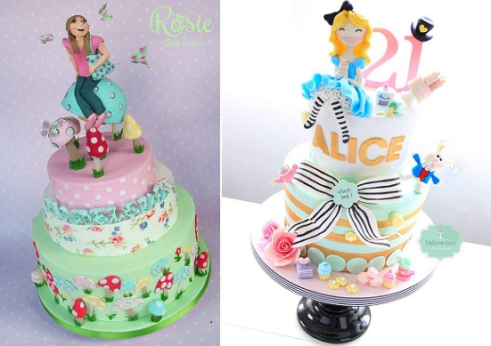 Alice in Wonderland 21st birthday cake from Bake-A-Boo left, Rosie Cake Diva right