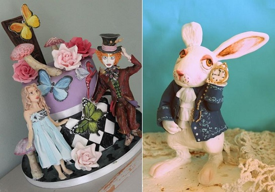 Alice in Wonderland cakes by Sweet As Sugar Cakes left and Sweet Ruby Cakes right