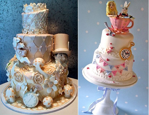 Alice in Wonderland wedding cake by Rosebud Cakes left, Nice Icing right
