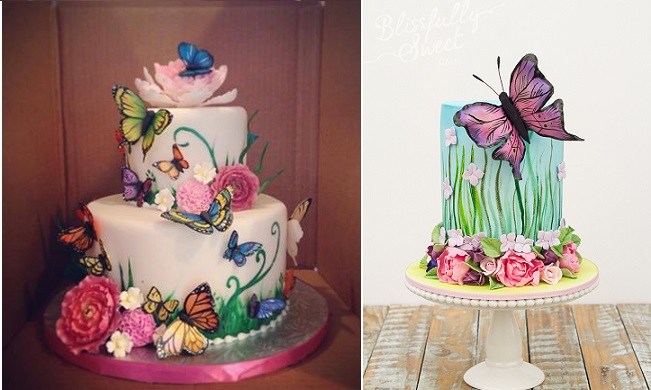 Midsummer Night's Dream cakes by Cake Artist Sarah Jones left and Blissfully Sweet Cakes right