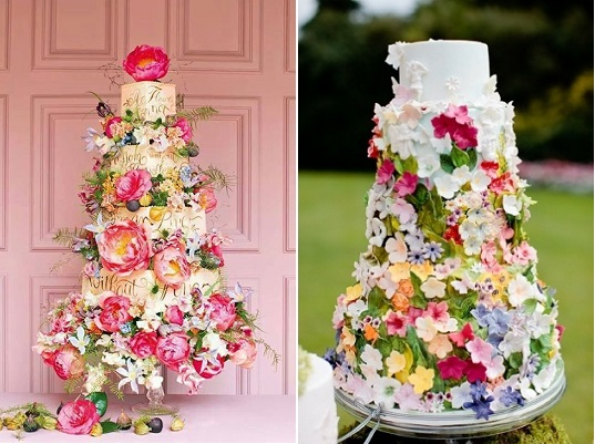 Midsummer Night's Dream wedding cakes by Cakes by Krishanthi right and via A nice Cup of Tea left