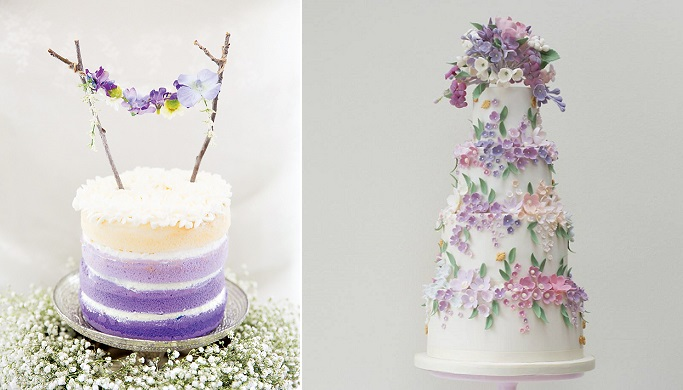 Midsummer Night's Dream wedding cakes by Rosalind Miller right and image left by Amy LB Photography via HTWM