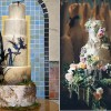 Midsummer Night's Dream wedding cakes by the Butter End Cakery left, image right by Crystal Stokes Photography