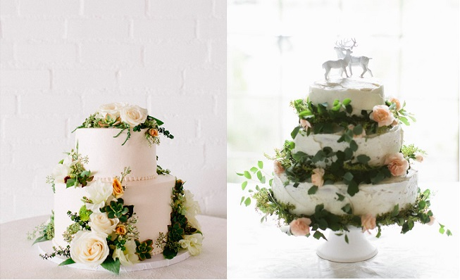 Midsummer Night's Dream wedding cakes via 100Layer Cake left, and ohmydeerhandmades.com right