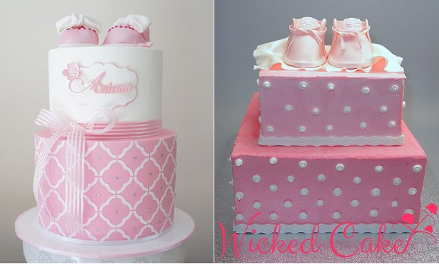 baby shoes cakes by Cakes to Cupcakes left and Wicked Cake right