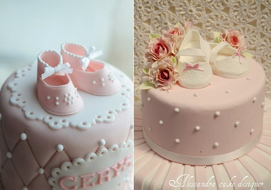 baby shoes cakes by Lyon's Bakery Hong Kong left and by Alessandra Frisoni right
