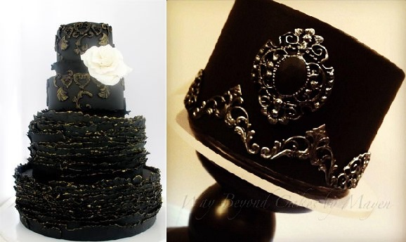 black iced cakes by Maggie Austin left and Way Beyond Cakes by Mayen right