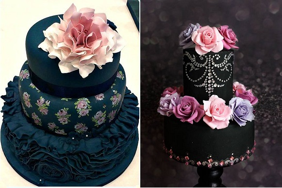 Black Wedding Cakes By Mon Cottage Cupcakes Left And Unusual Cakes For You  Right