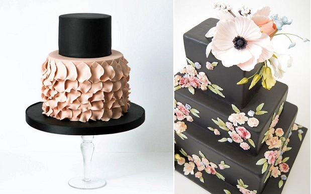 black wedding cakes by Pasteles Alma and Ron Ben Israel