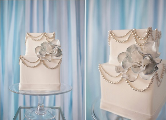 blue wedding cake with silver pearls by A Piece O Cake via Wedding Chicks, Jenna MacKenzie Photography