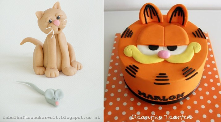 cat cake topper left by Fabelhafte Zuckerwelt Austria left and Garfield cake by Daantjes Taarten right