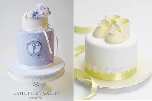 christening cakes or naming day cakes by Catherine's Cakery left, Peggy Porschen right
