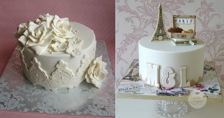 covered cake boards and cakes by Daantjes Taarten left and The Designer Cake Co. right
