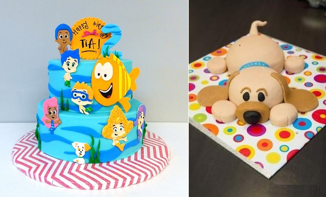 covered cake boards from Artylicious Cakes left and via Huggies right