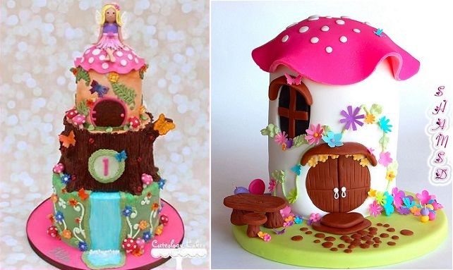 flower fairy cake by Cuteology Cakes left and fairy toadstool cake by Shams D right
